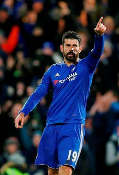 Chelsea striker Diego Costa celebrates after scoring in the win over Norwich City at Stamford Bridge yesterday