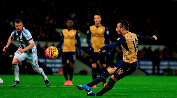 Arsenal's Santi Cazorla misses a late penalty kick during the Premier League defeat at West Brom