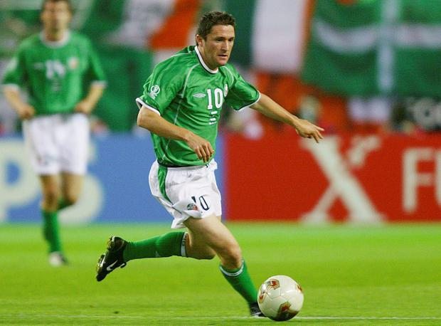 Robbie Keane playing for Ireland in their match against Germany at the World Cup on 5 June, 2002 at Ibaraki, Japan