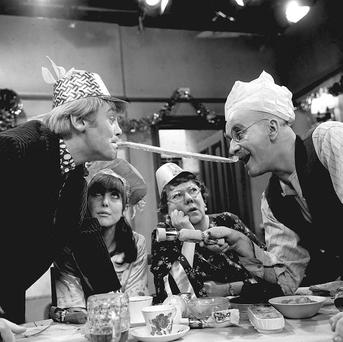 BIGOT: Warren Mitchell as Alf Garnet (right) in Till Death Do Us Part with Anthony Booth as son-in-law Mike, Una Stubbs as daughter Rita and Dandy Nichols as Else