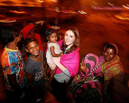 HOPE AMID DESPAIR: Sile Seoige visiting the homeless during her trip to India's Kolkata with the Hope foundation