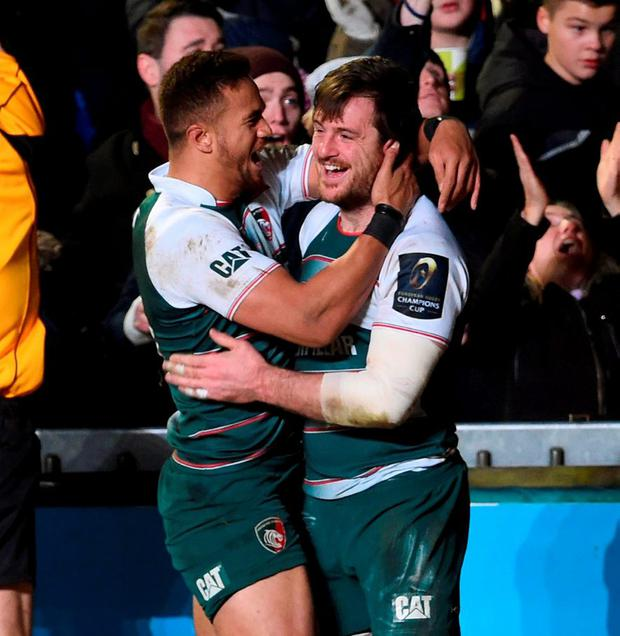 Leicester Tigers' Matt Smith celebrates with Peter Betham