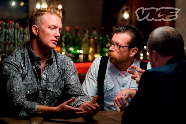Undated VICE Media handout photo of Joshua Homme (left) and Jesse Hughes (centre) of the Eagles of Death Metal being interviewed by VICE founder Shane Smith