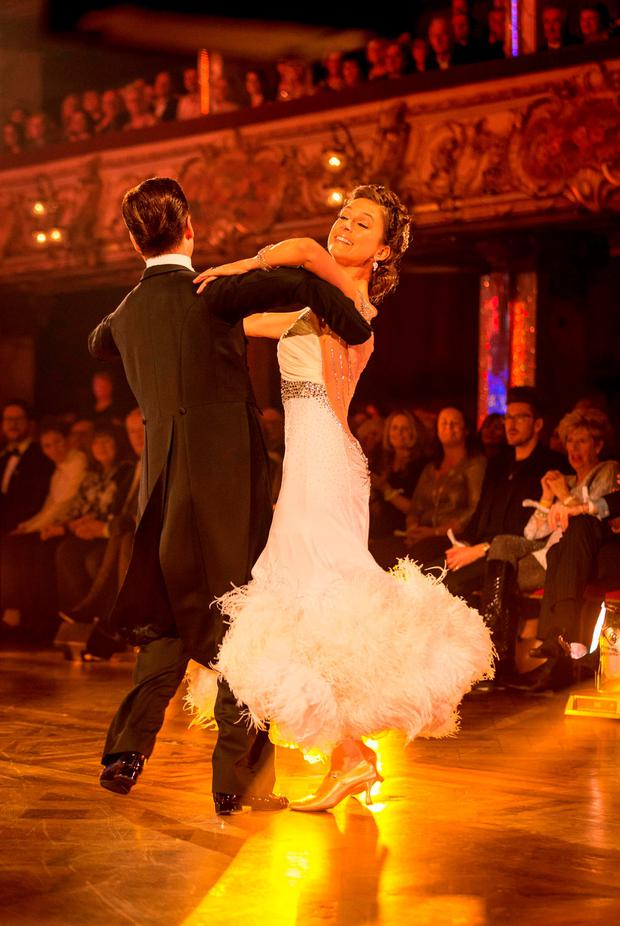 Katie Derham and Anton Du Beke appearing on the Strictly Come Dancing live show in Blackpool