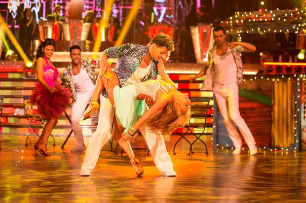Aliona Vilani and Jay McGuiness appearing on the Strictly Come Dancing live show in Blackpool
