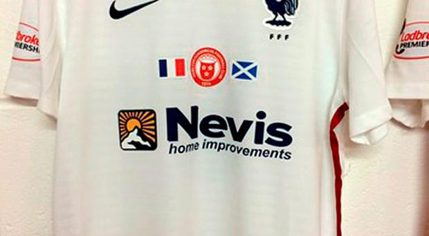 Hamilton wore France strips in their 1-1 Ladbrokes Premiership draw against Aberdeen as a tribute to the Paris attack victims.