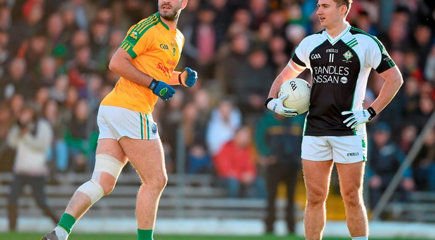 Kerry team-mates James O'Donoghue of Killarney Legion and South Kerry's Bryan Sheehan during the Kerry County Senior Football Championship Final,