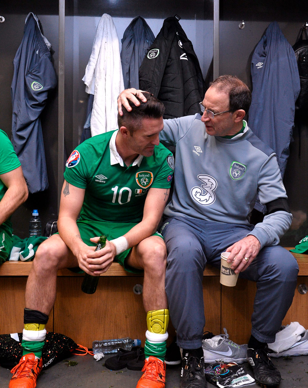 Martin O'Neill and Robbie Keane celebrate in the dressingroom after the game. UEFA EURO 2016 Championship Qualifier, Play-off, 2nd Leg, Republic of Ireland v Bosnia and Herzegovina. Aviva Stadium, Lansdowne Road, Dublin. Picture credit: David Maher / SPORTSFILE