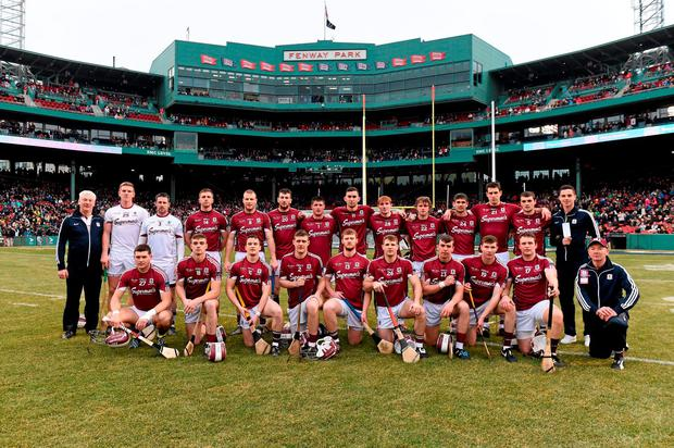 22 November 2015; The Galway squad. AIG Fenway Hurling Classic, Dublin v Galway. Fenway Park, Boston, MA, USA. Picture credit: Ray McManus / SPORTSFILE