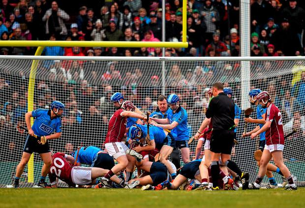 Players from both teams get involved in a scuffle during the game. AIG Fenway Hurling Classic, Dublin v Galway. Fenway Park, Boston, MA, USA. Picture credit: Ray McManus / SPORTSFILE