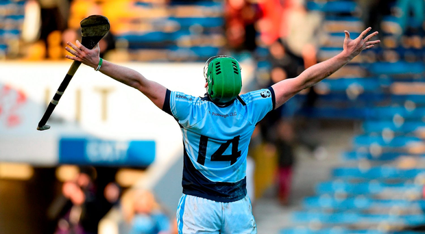 Na Piarsaigh sharpshooter Shane Dowling looks to the heavens at the final whistle as he celebrates his team's AIB Munster Club SHC final victory over Ballygunner in Semple Stadium