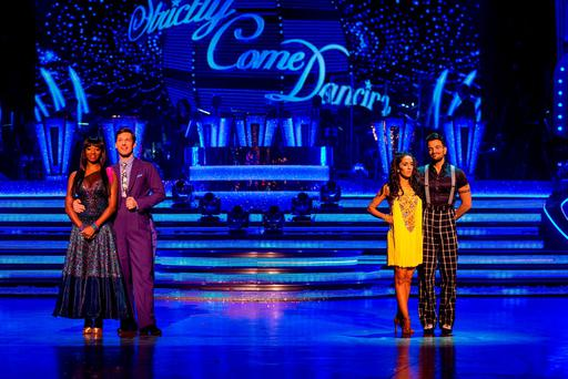 Jamelia and Tristan MacManus (at left) and Janette Manrara and Peter Andre (at right), during the Strictly Come Dancing results show in Blackpool. Photo: Guy Levy/BBC/PA Wire