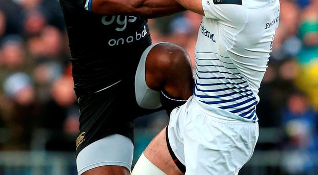 Dave Kearney beats Bath's Semesa Rokoduguni to the high ball at The Rec