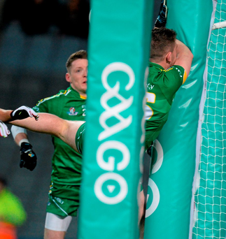 Paddy McBrearty clashing with the goalpost