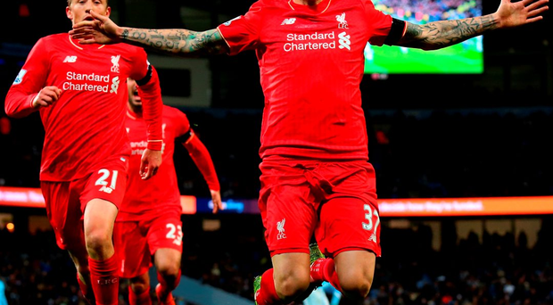 MANCHESTER, ENGLAND - NOVEMBER 21: Martin Skrtel of Liverpool celebrates scoring his team's fourth goal during the Barclays Premier League match between Manchester City and Liverpool at Etihad Stadium on November 21, 2015 in Manchester, England. (Photo by Alex Livesey/Getty Images)