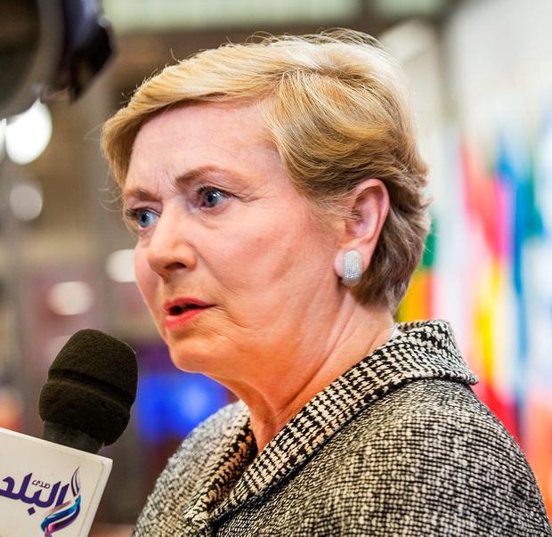 20th November 2015 - Brussels, Belgium - Frances Fitzgerald T.D., Minister for Justice and Equality speaking to the media in Brussels. Photo by Peter Cavanagh [Must Credit]