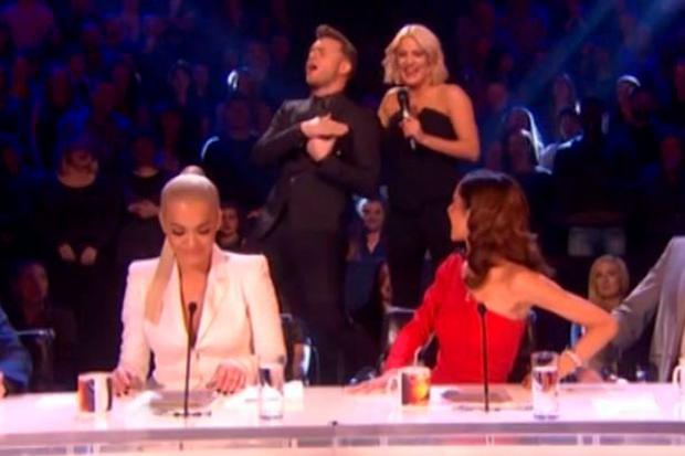 Caroline and Olly with the judges on Sunday night's X Factor