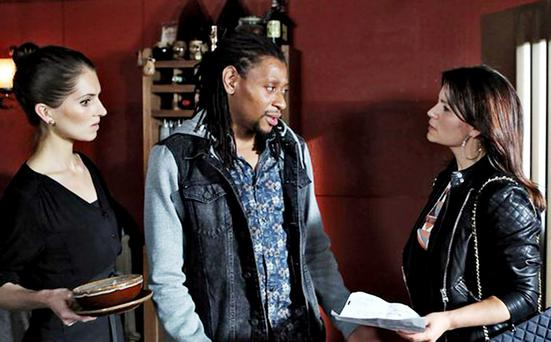 Uche Gabriel (centre) in Fair City