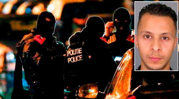 Belgian police, inset suspected Paris attacker Salah Abdeslam