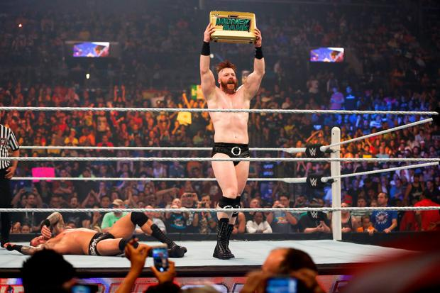 Sheamus celebrates his victory at the WWE SummerSlam 2015 at Barclays Center of Brooklyn on August 23, 2015 in New York City. (Photo by JP Yim/Getty Images)