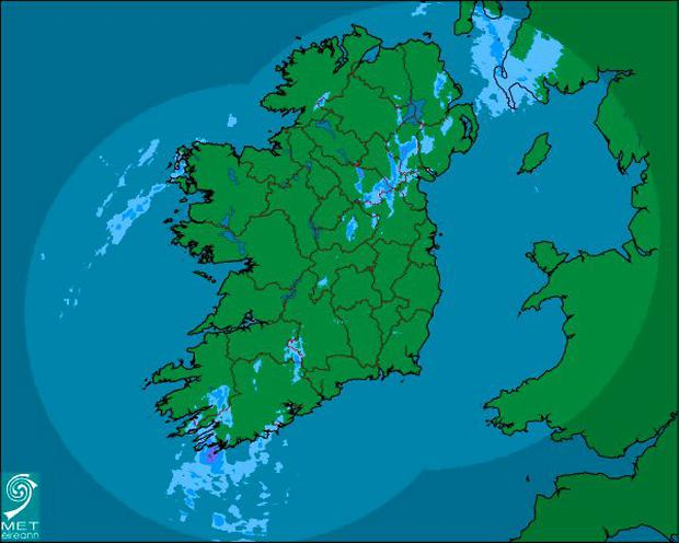 Rainfall this morning across the country Credit: Met Éireann