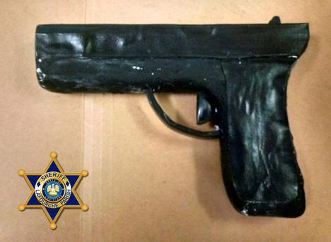 The 'gun' was made using soap and toilet paper said guards Credit: Lafourche Parish