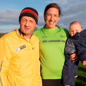 Peter Vincent and Ciara Bradley with her daughter Molly O'Sullivan, who took part in the Parkrun at Tymon Park, Greenhills, Dublin 24. 21/11/2015