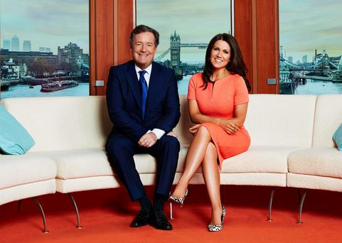 Good Morning Britain hosts Piers Morgan and Susanna Reid. Morgan antagonised Noise as he pressed him to reveal his real name in the awkward encounter. Jonathan Ford/ITV/PA Wire