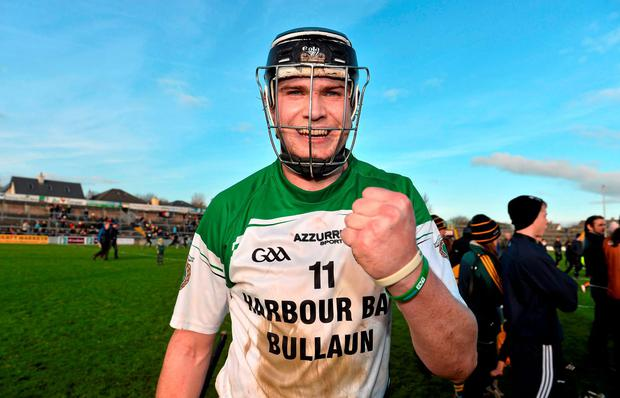 Sarsfields captain Joe Cooney celebrates after the Galway County Senior Hurling Championship Final Replay