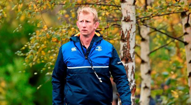 Leo Cullen in pensive mood on his way to Leinster training yesterday