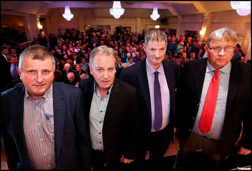 Pictured at the Save Our Communities National Public Meeting at the Anner Hotel in Thurles, Co Tipperary, last month (l-r): Francis Burke, secretary of the Save Our Communities group; Irish Independent correspondent Paul Williams; vice-chairman of Save Our Communities and crime victim John Tully; and Robert O'Shea, Save Our Communities chairman. Pic: Steve Humphreys