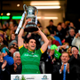 Ireland captain Bernard Brogan lifts the Cormac Mcanallen Cup after the EirGrid International Rules Test win over Australia in Croke Park