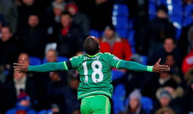 Jermain Defoe celebrates after scoring the winner for Sunderland