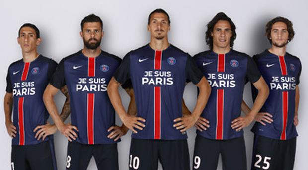 PSG players display the special jerseys to commemorate the Paris terror attack victims