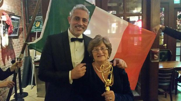 Baz and Nancy celebrate their win at the International Emmy Awards