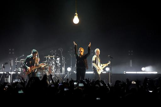 23/11/15 - U2 pictured performing in the 3 Arena, Dublin Pic Stephen Collins/Collins Photos