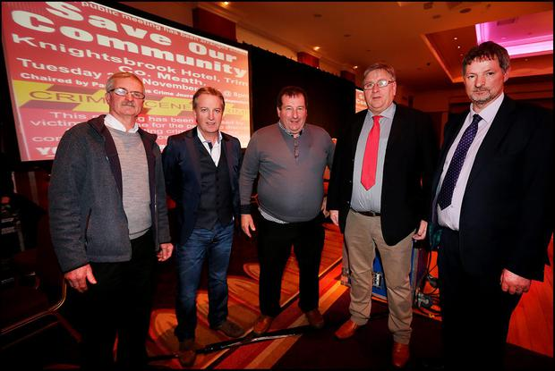 Ronnie Owens, Paul Williams, Malachy Sullivan, Robert O 'Shea and John Tully attending the Save Our Community public meeting at the Knightsbrook Hotel in Trim. Pic Steve Humphreys
