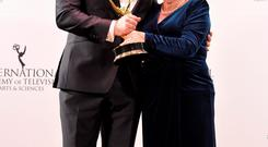 Baz Ashmawy and his mother Nancy celebrate their International Emmy win at the New York ceremony. Photo: Getty Images