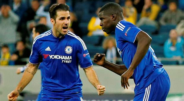 Maccabi Tel Aviv v Chelsea - UEFA Champions League Group Stage - Group G - Sammy Ofer Stadium, Haifa, Israel - 24/11/15 Kurt Zouma celebrates with Cesc Fabregas after scoring the fourth goal for Chelsea Action Images via Reuters / John Sibley Livepic EDITORIAL USE ONLY.