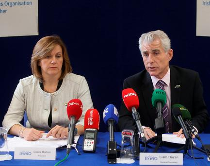 Liam Doran, General secretary of the IMNO and Claire Mahon, INMO President at the announcement that Emergency department nurses have voted 92 per cent in favour of industrial action in a ballot. Picture credit: Damien Eagers