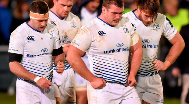 Leinster players, from left, Fergus McFadden, Rhys Ruddock, Jack McGrath and Dominic Ryan can't hide their disappointment after losing to Bath at the weekend