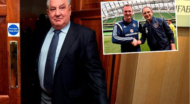 Jim Boyce says politicians should butt out of sport and (inset) Martin O'Neill and Michael O'Neill