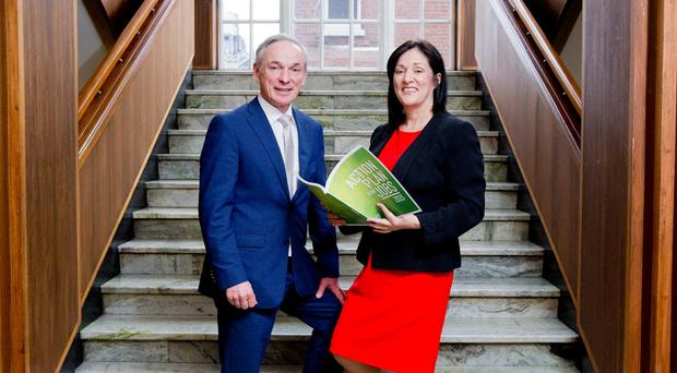Jobs Minister Richard Bruton and CPL Resources chief executive Anne Heraty