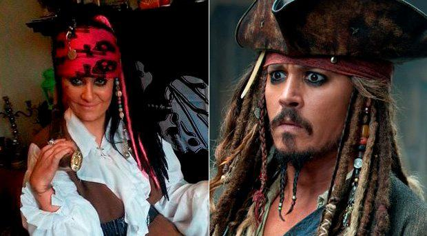 Amanda Sparrow in full Jack Sparrow costume, (right) the real Captain Jack Sparrow