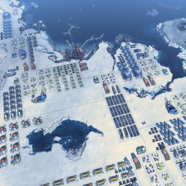 Anno 2205 - All that flat snow in the Arctic means building in straight lines is possible, if somewhat boring.