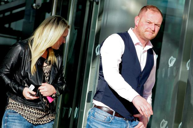 David Ward (30), and Lynsey Ivory (27) of The Beeches, Clonshaugh, Priorswood, Dublin, leaving court today where they pleaded guilty to attempting to dishonestly by deception cause a loss to FBD Insurance on dates between July, 2013 and January, 2014. Pic: Courtpix