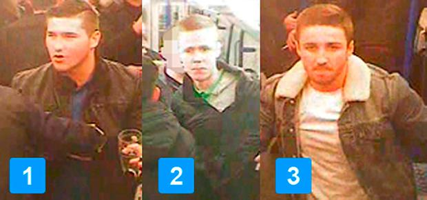 CCTV still issued by British Transport Police of three men they would like to speak to in connection with an incident where a
