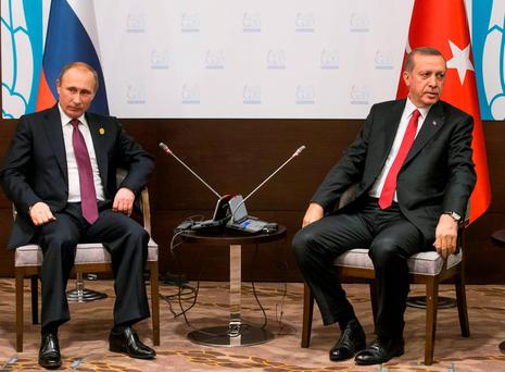 Russian President Vladimir Putin and Turkish President Recep Tayyip Erdogan met for talks earlier this month at the G-20 Summit in Antalya, before the Russian bomber was shot down