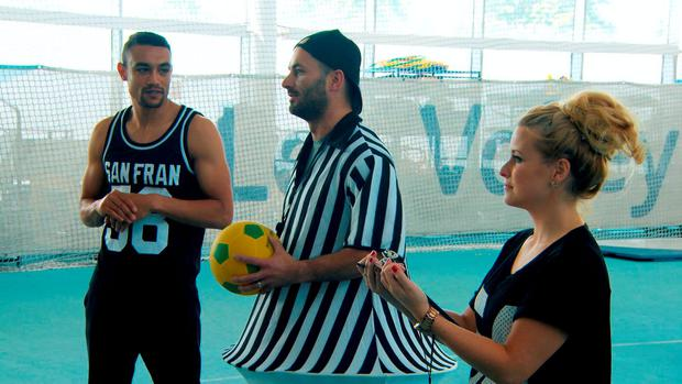 Scott Saunders, Brett Butler-Smythe and Selina Waterman-Smith playing sports as they take part in the latest challenge for the BBC1 programme