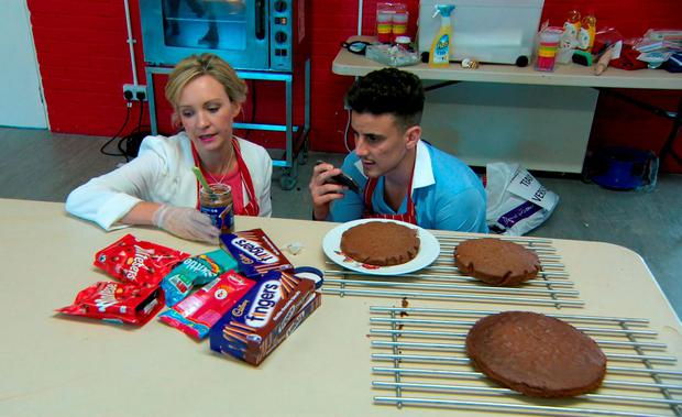 Charleine Wain and Joseph Valente baking the chocolate cake as they take part in the latest challenge for the BBC1 programme